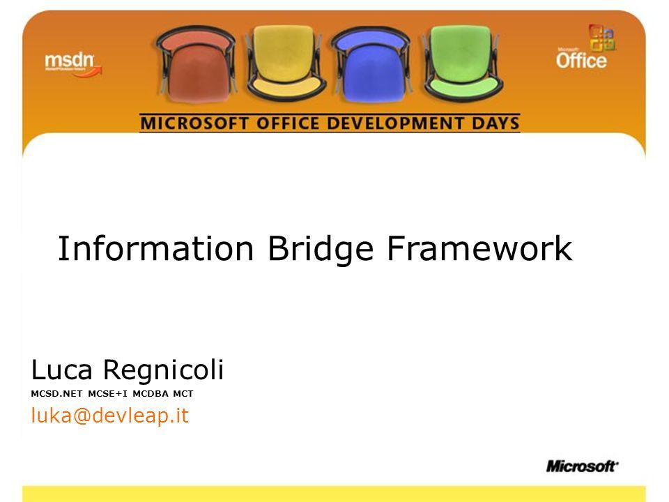 2 Information Bridge Framework Luca Regnicoli MCSD.NET MCSE+I MCDBA MCT luka@devleap.it