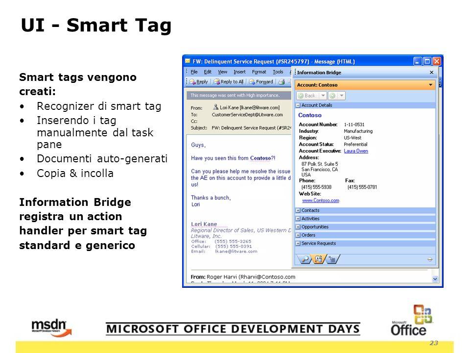 23 UI - Smart Tag Smart tags vengono creati: Recognizer di smart tag Inserendo i tag manualmente dal task pane Documenti auto-generati Copia & incolla Information Bridge registra un action handler per smart tag standard e generico