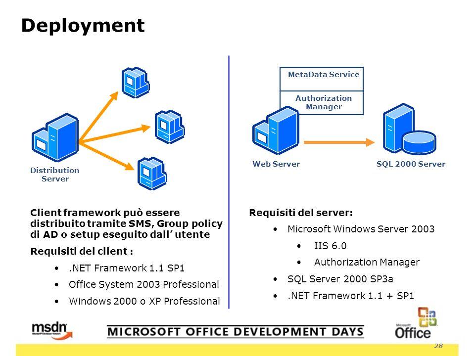 28 Deployment MetaData Service Authorization Manager SQL 2000 ServerWeb Server Client framework può essere distribuito tramite SMS, Group policy di AD