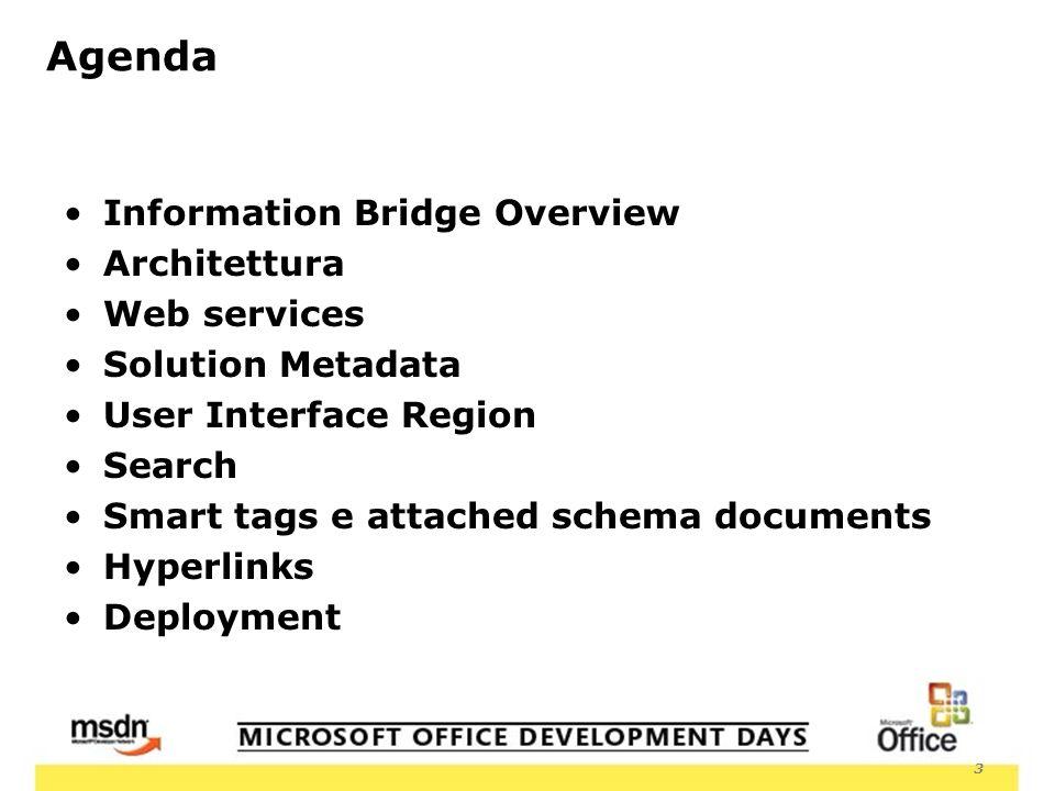 3 Agenda Information Bridge Overview Architettura Web services Solution Metadata User Interface Region Search Smart tags e attached schema documents Hyperlinks Deployment