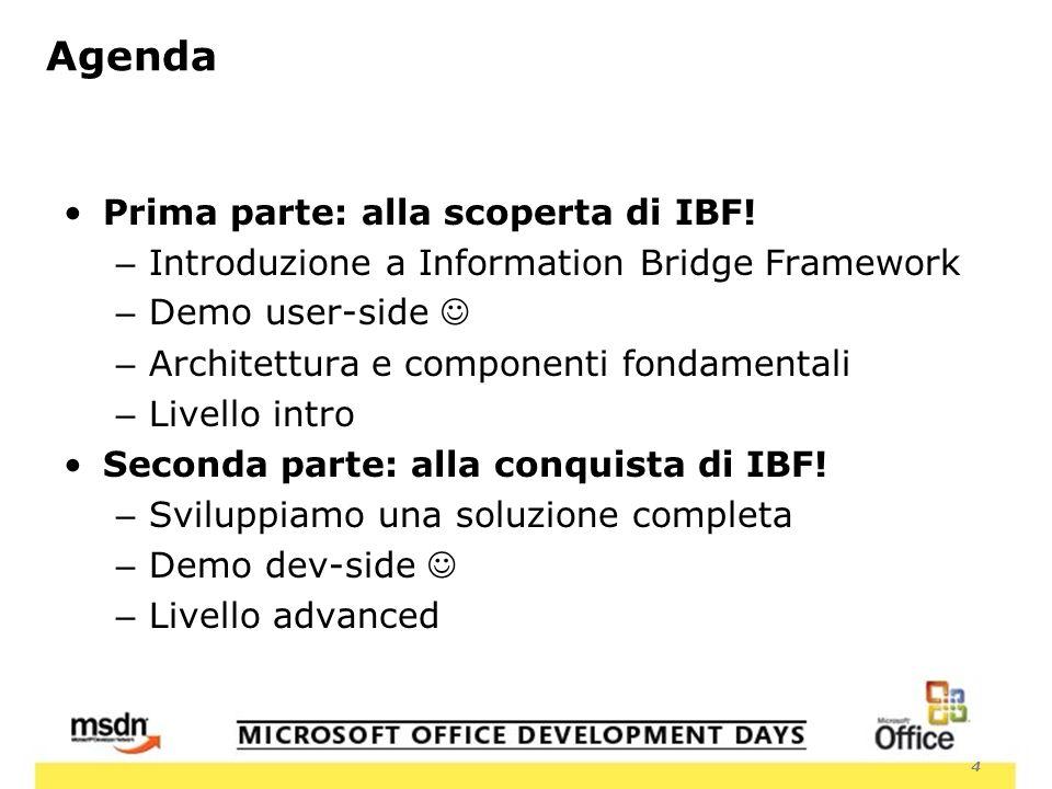 4 Agenda Prima parte: alla scoperta di IBF.