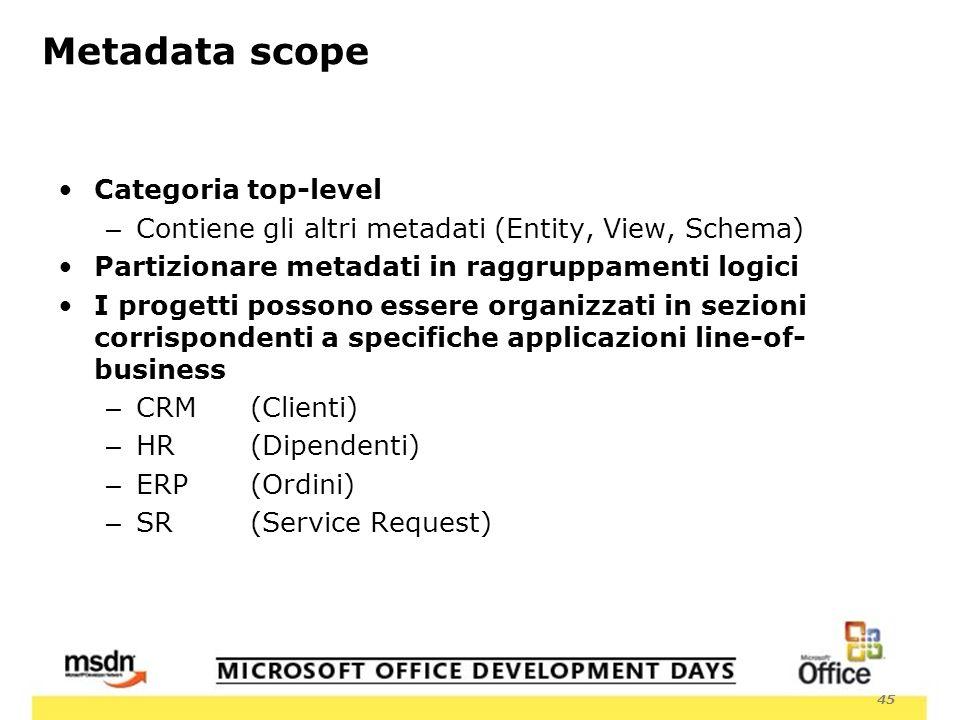 45 Metadata scope Categoria top-level – Contiene gli altri metadati (Entity, View, Schema) Partizionare metadati in raggruppamenti logici I progetti possono essere organizzati in sezioni corrispondenti a specifiche applicazioni line-of- business – CRM (Clienti) – HR (Dipendenti) – ERP(Ordini) – SR (Service Request)