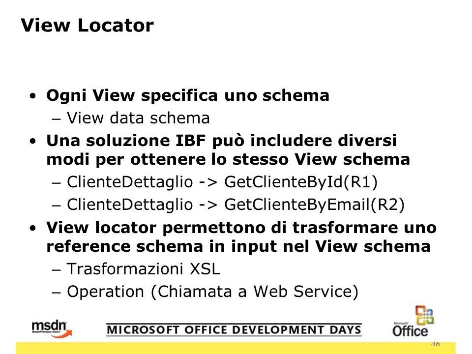 46 View Locator Ogni View specifica uno schema – View data schema Una soluzione IBF può includere diversi modi per ottenere lo stesso View schema – ClienteDettaglio -> GetClienteById(R1) – ClienteDettaglio -> GetClienteByEmail(R2) View locator permettono di trasformare uno reference schema in input nel View schema – Trasformazioni XSL – Operation (Chiamata a Web Service)