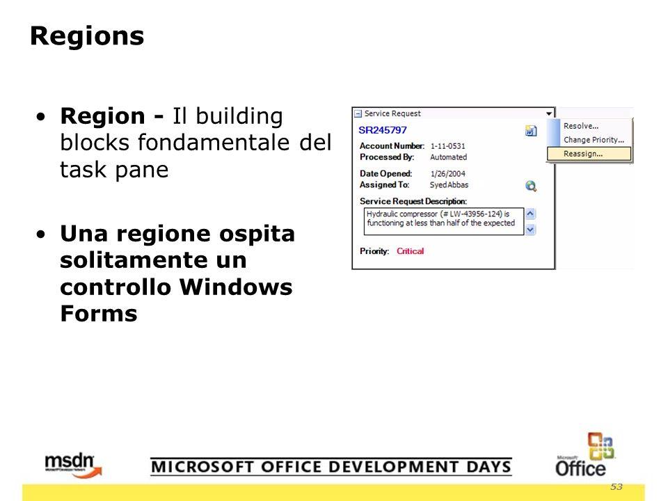 53 Region - Il building blocks fondamentale del task pane Una regione ospita solitamente un controllo Windows Forms Regions
