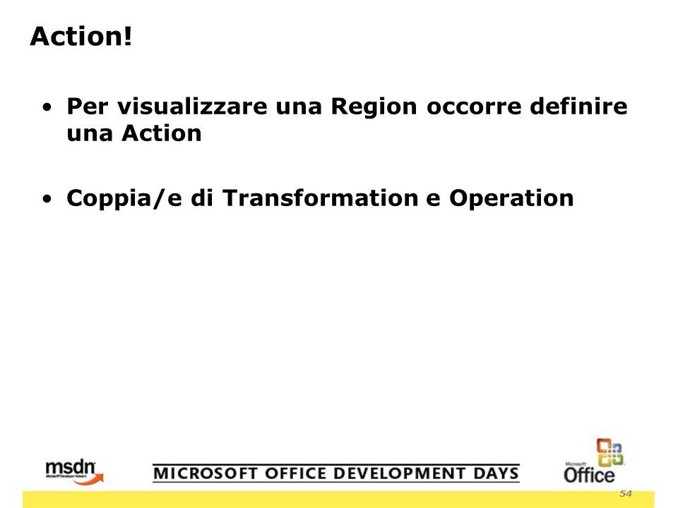54 Per visualizzare una Region occorre definire una Action Coppia/e di Transformation e Operation Action!