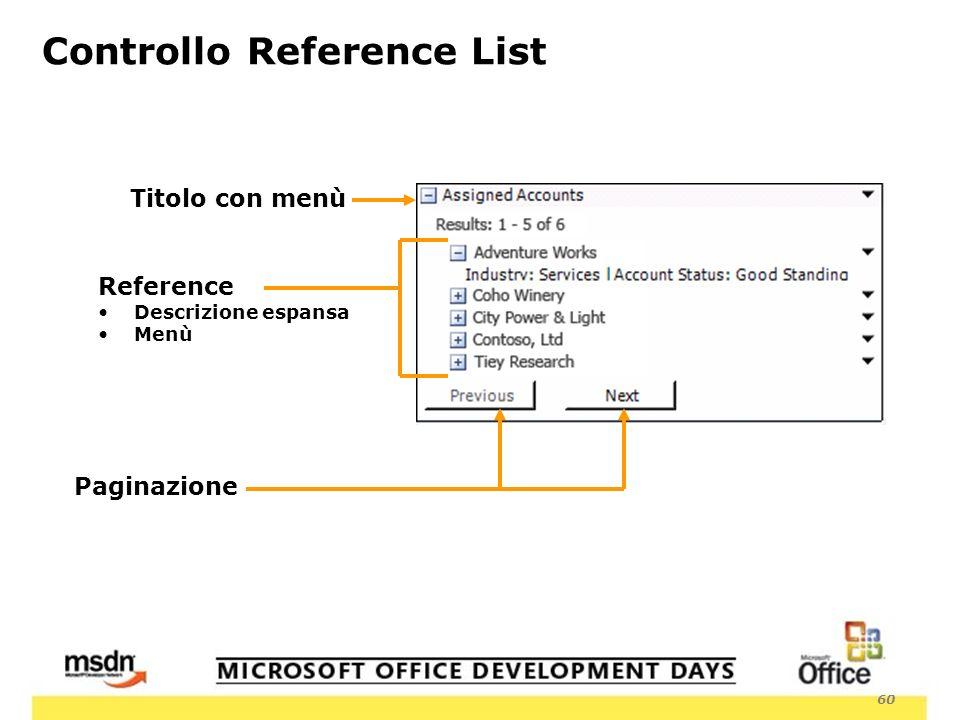 60 Titolo con menù Controllo Reference List Reference Descrizione espansa Menù Paginazione