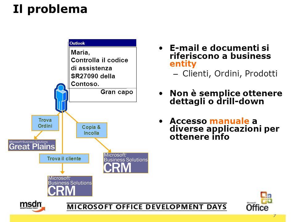 7 E-mail e documenti si riferiscono a business entity – Clienti, Ordini, Prodotti Non è semplice ottenere dettagli o drill-down Accesso manuale a diverse applicazioni per ottenere info Trova Ordini Outlook Maria, Controlla il codice di assistenza SR27090 della Contoso.