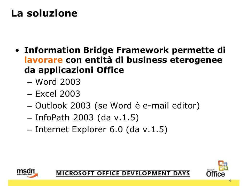 9 La soluzione Information Bridge Framework permette di lavorare con entità di business eterogenee da applicazioni Office – Word 2003 – Excel 2003 – Outlook 2003 (se Word è e-mail editor) – InfoPath 2003 (da v.1.5) – Internet Explorer 6.0 (da v.1.5)