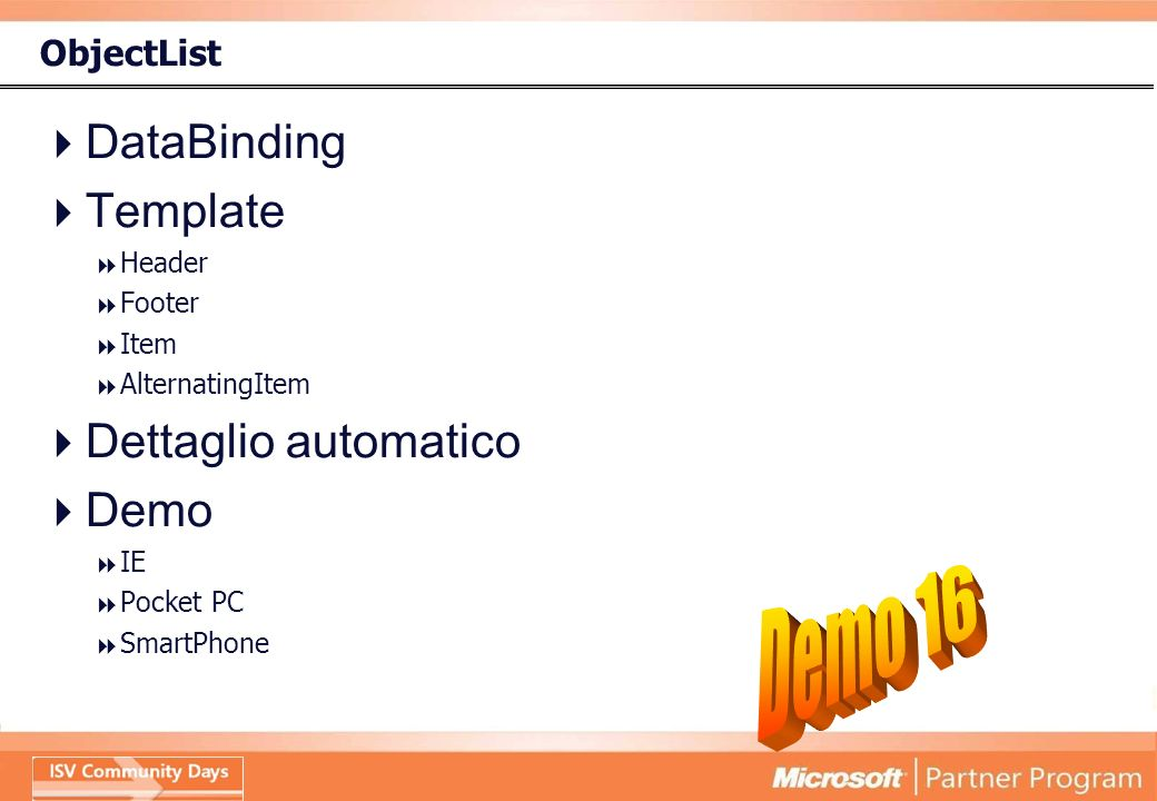 ObjectList DataBinding Template Header Footer Item AlternatingItem Dettaglio automatico Demo IE Pocket PC SmartPhone