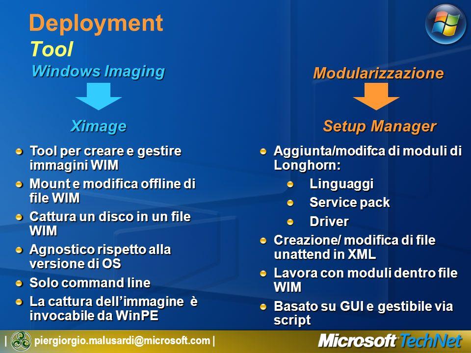 | piergiorgio.malusardi@microsoft.com | Windows Imaging Deployment Tool Modularizzazione Ximage Setup Manager Tool per creare e gestire immagini WIM M
