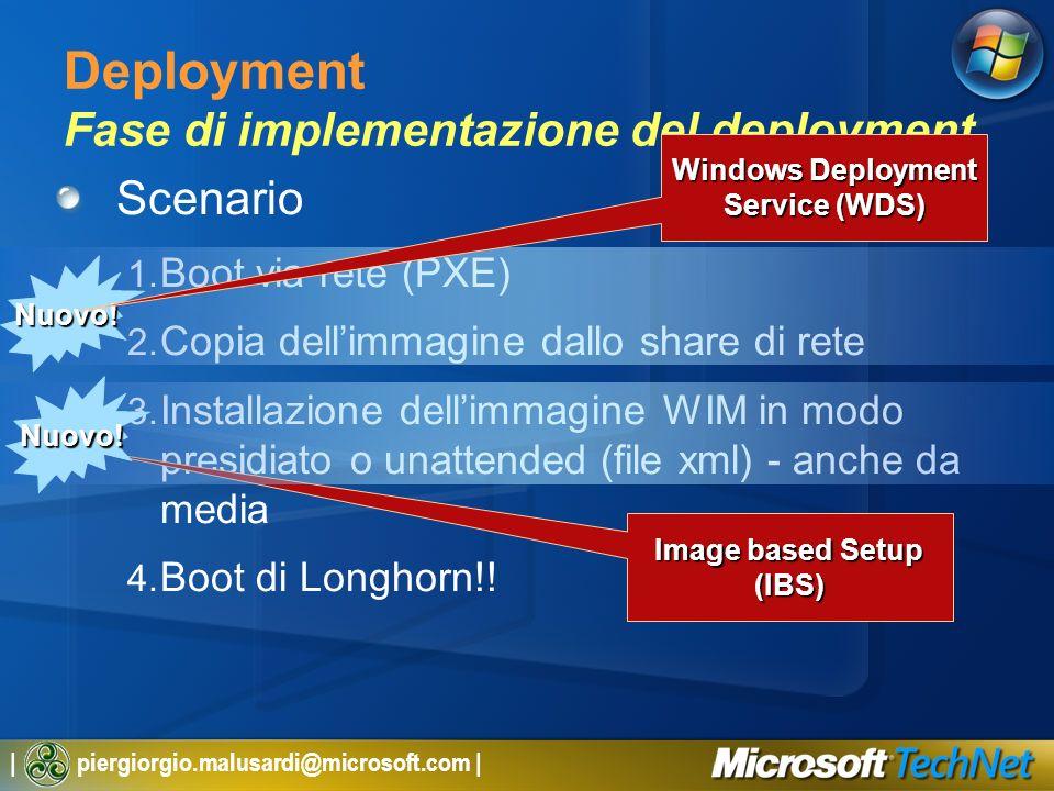 | piergiorgio.malusardi@microsoft.com | Deployment Fase di implementazione del deployment Scenario 1. Boot via rete (PXE) 2. Copia dellimmagine dallo