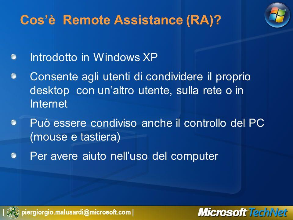 | piergiorgio.malusardi@microsoft.com | Cosè Remote Assistance (RA)? Introdotto in Windows XP Consente agli utenti di condividere il proprio desktop c