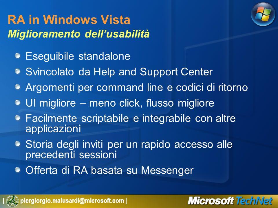| piergiorgio.malusardi@microsoft.com | RA in Windows Vista Miglioramento dellusabilità Eseguibile standalone Svincolato da Help and Support Center Ar