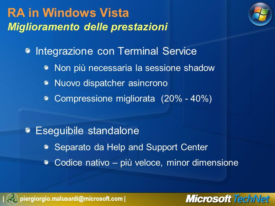 | piergiorgio.malusardi@microsoft.com | RA in Windows Vista Miglioramento delle prestazioni Integrazione con Terminal Service Non più necessaria la sessione shadow Nuovo dispatcher asincrono Compressione migliorata (20% - 40%) Eseguibile standalone Separato da Help and Support Center Codice nativo – più veloce, minor dimensione