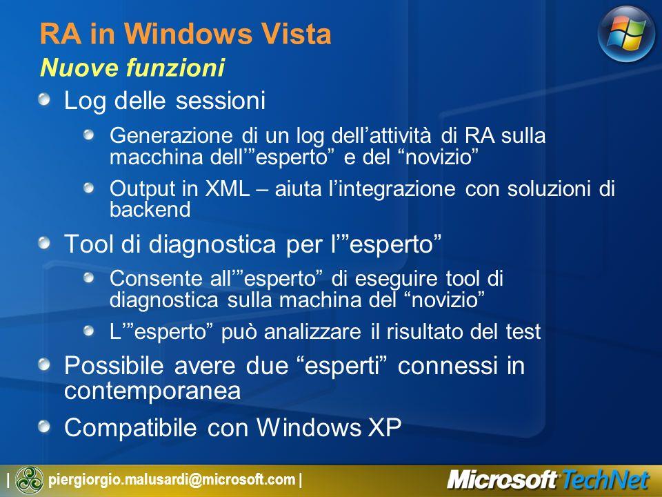 | piergiorgio.malusardi@microsoft.com | RA in Windows Vista Nuove funzioni Log delle sessioni Generazione di un log dellattività di RA sulla macchina dellesperto e del novizio Output in XML – aiuta lintegrazione con soluzioni di backend Tool di diagnostica per lesperto Consente allesperto di eseguire tool di diagnostica sulla machina del novizio Lesperto può analizzare il risultato del test Possibile avere due esperti connessi in contemporanea Compatibile con Windows XP
