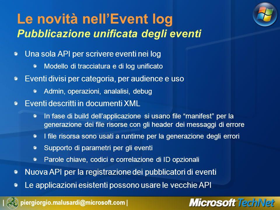 | piergiorgio.malusardi@microsoft.com | Le novità nellEvent log Pubblicazione unificata degli eventi Una sola API per scrivere eventi nei log Modello