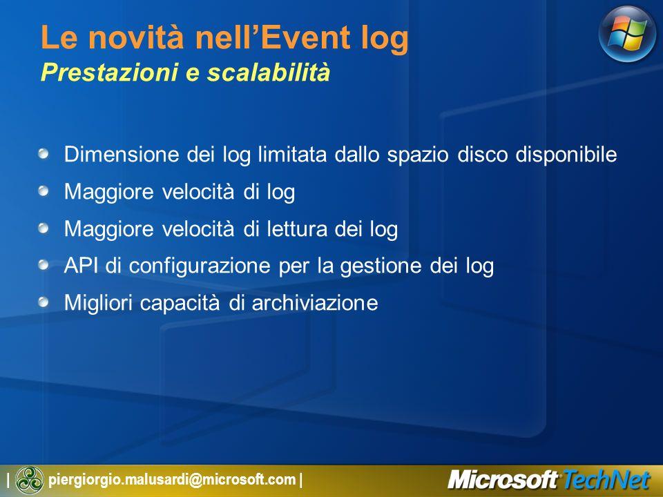 | piergiorgio.malusardi@microsoft.com | Le novità nellEvent log Prestazioni e scalabilità Dimensione dei log limitata dallo spazio disco disponibile M