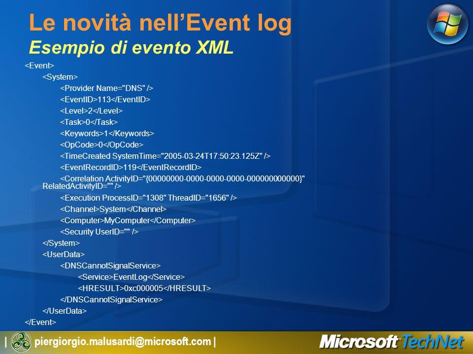 | piergiorgio.malusardi@microsoft.com | Le novità nellEvent log Esempio di evento XML 113 2 0 1 0 119 System MyComputer EventLog 0xc000005