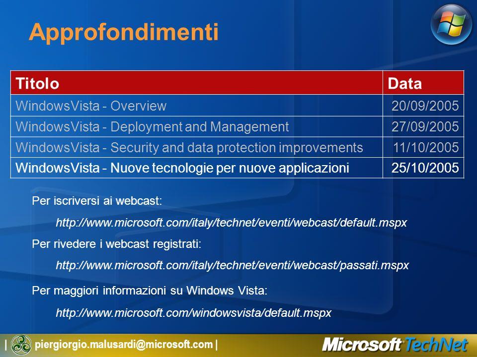 | piergiorgio.malusardi@microsoft.com | Approfondimenti TitoloData WindowsVista - Overview20/09/2005 WindowsVista - Deployment and Management27/09/2005 WindowsVista - Security and data protection improvements11/10/2005 WindowsVista - Nuove tecnologie per nuove applicazioni25/10/2005 Per iscriversi ai webcast: http://www.microsoft.com/italy/technet/eventi/webcast/default.mspx Per rivedere i webcast registrati: http://www.microsoft.com/italy/technet/eventi/webcast/passati.mspx Per maggiori informazioni su Windows Vista: http://www.microsoft.com/windowsvista/default.mspx
