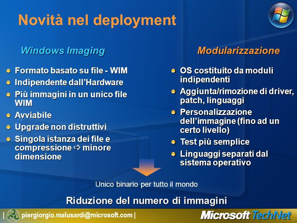 | piergiorgio.malusardi@microsoft.com | Windows Imaging Novità nel deployment Unico binario per tutto il mondo Modularizzazione Formato basato su file