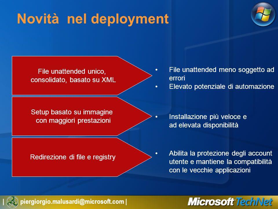 | piergiorgio.malusardi@microsoft.com | Novità nel deployment File unattended unico, consolidato, basato su XML Setup basato su immagine con maggiori