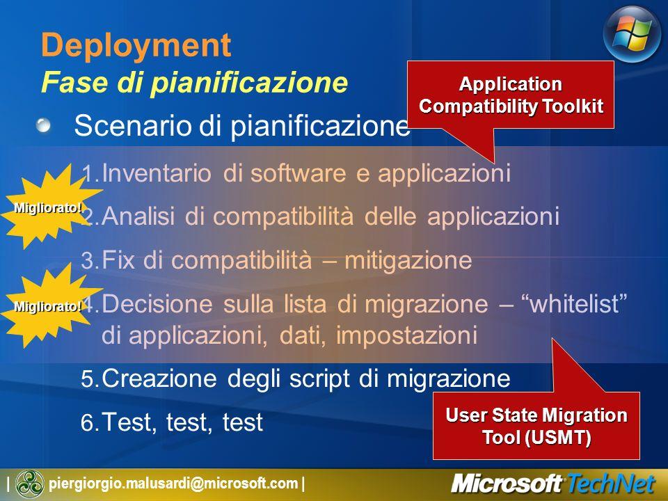 | piergiorgio.malusardi@microsoft.com | Deployment Fase di pianificazione Scenario di pianificazione 1. Inventario di software e applicazioni 2. Anali