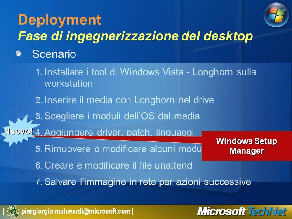 | piergiorgio.malusardi@microsoft.com | Deployment Fase di ingegnerizzazione del desktop Scenario 1. Installare i tool di Windows Vista - Longhorn sul
