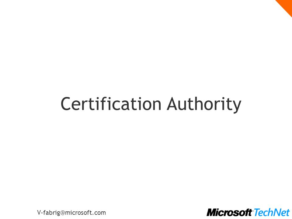 V-fabrig@microsoft.com Certification Authority