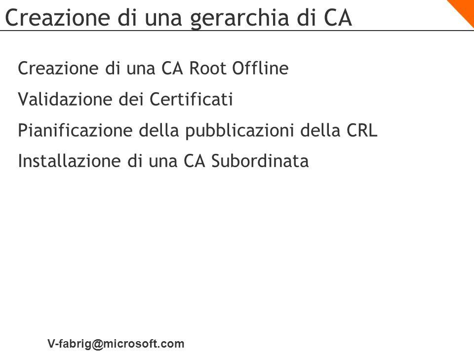 V-fabrig@microsoft.com Creazione di una gerarchia di CA Creazione di una CA Root Offline Validazione dei Certificati Pianificazione della pubblicazion