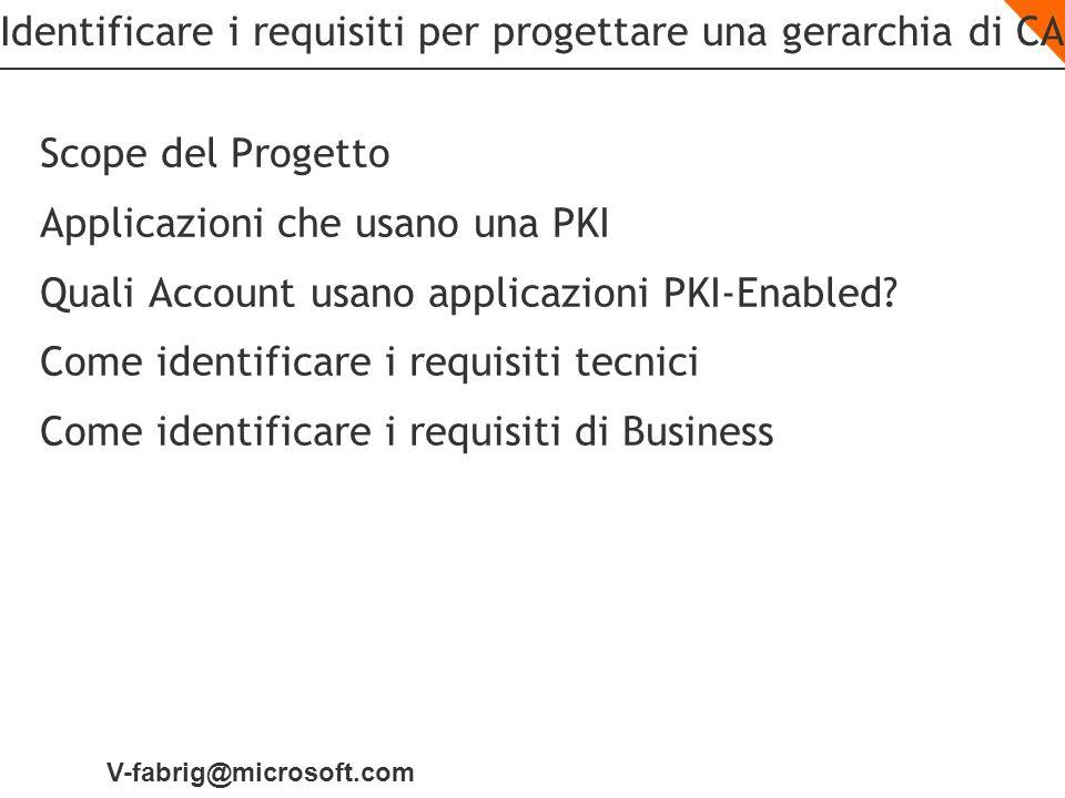 V-fabrig@microsoft.com Identificare i requisiti per progettare una gerarchia di CA Scope del Progetto Applicazioni che usano una PKI Quali Account usa