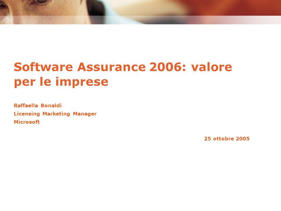 Raffaella Bonaldi Licensing Marketing Manager Microsoft 25 ottobre 2005 Software Assurance 2006: valore per le imprese