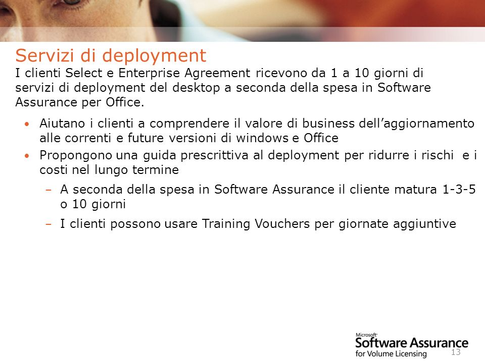 Worldwide Licensing and Pricing FY06 13 Aiutano i clienti a comprendere il valore di business dellaggiornamento alle correnti e future versioni di win
