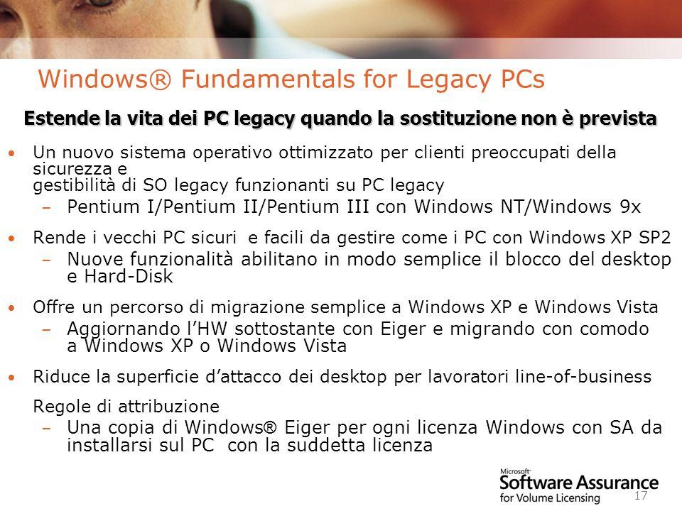 Worldwide Licensing and Pricing FY06 17 Windows® Fundamentals for Legacy PCs Un nuovo sistema operativo ottimizzato per clienti preoccupati della sicurezza e gestibilità di SO legacy funzionanti su PC legacy – Pentium I/Pentium II/Pentium III con Windows NT/Windows 9x Rende i vecchi PC sicuri e facili da gestire come i PC con Windows XP SP2 – Nuove funzionalità abilitano in modo semplice il blocco del desktop e Hard-Disk Offre un percorso di migrazione semplice a Windows XP e Windows Vista – Aggiornando lHW sottostante con Eiger e migrando con comodo a Windows XP o Windows Vista Riduce la superficie dattacco dei desktop per lavoratori line-of-business Regole di attribuzione – Una copia di Windows ® Eiger per ogni licenza Windows con SA da installarsi sul PC con la suddetta licenza Estende la vita dei PC legacy quando la sostituzione non è prevista