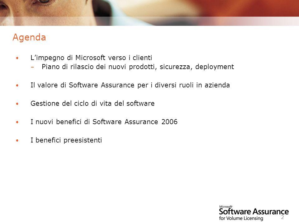 Worldwide Licensing and Pricing FY06 2 Agenda Limpegno di Microsoft verso i clienti – Piano di rilascio dei nuovi prodotti, sicurezza, deployment Il v