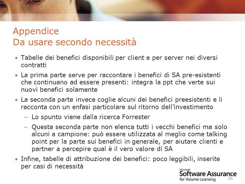 Worldwide Licensing and Pricing FY06 26 Appendice Da usare secondo necessità Tabelle dei benefici disponibili per client e per server nei diversi cont