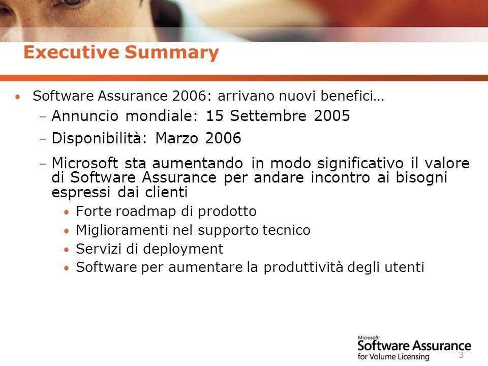 Worldwide Licensing and Pricing FY06 3 Executive Summary Software Assurance 2006: arrivano nuovi benefici… – Annuncio mondiale: 15 Settembre 2005 – Di