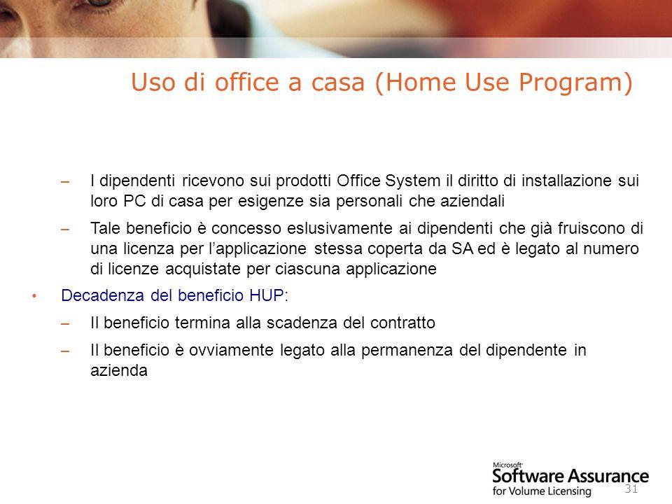Worldwide Licensing and Pricing FY06 31 – I dipendenti ricevono sui prodotti Office System il diritto di installazione sui loro PC di casa per esigenz