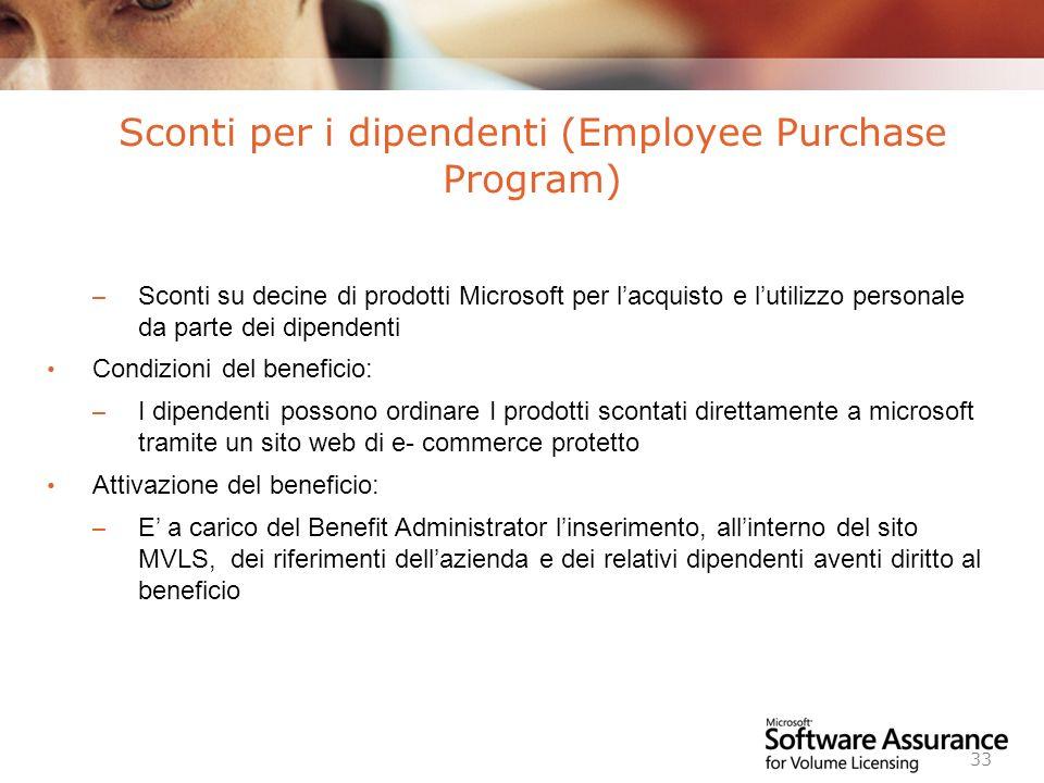 Worldwide Licensing and Pricing FY06 33 – Sconti su decine di prodotti Microsoft per lacquisto e lutilizzo personale da parte dei dipendenti Condizion