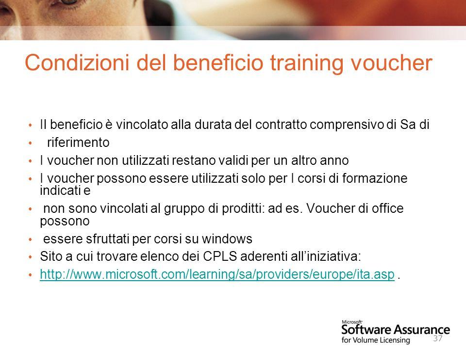 Worldwide Licensing and Pricing FY06 37 Condizioni del beneficio training voucher Il beneficio è vincolato alla durata del contratto comprensivo di Sa