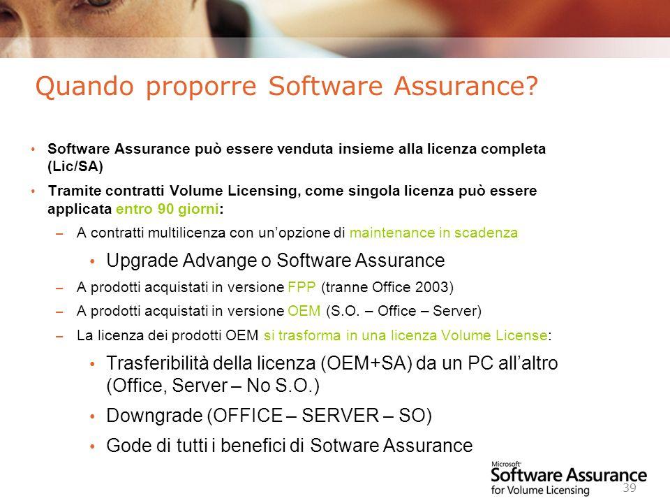 Worldwide Licensing and Pricing FY06 39 Quando proporre Software Assurance? Software Assurance può essere venduta insieme alla licenza completa (Lic/S
