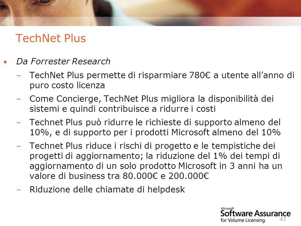 Worldwide Licensing and Pricing FY06 43 TechNet Plus Da Forrester Research – TechNet Plus permette di risparmiare 780 a utente allanno di puro costo l