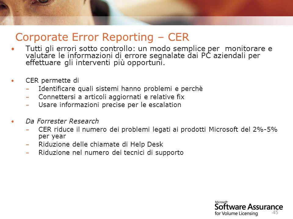 Worldwide Licensing and Pricing FY06 45 Corporate Error Reporting – CER Tutti gli errori sotto controllo: un modo semplice per monitorare e valutare le informazioni di errore segnalate dai PC aziendali per effettuare gli interventi più opportuni.