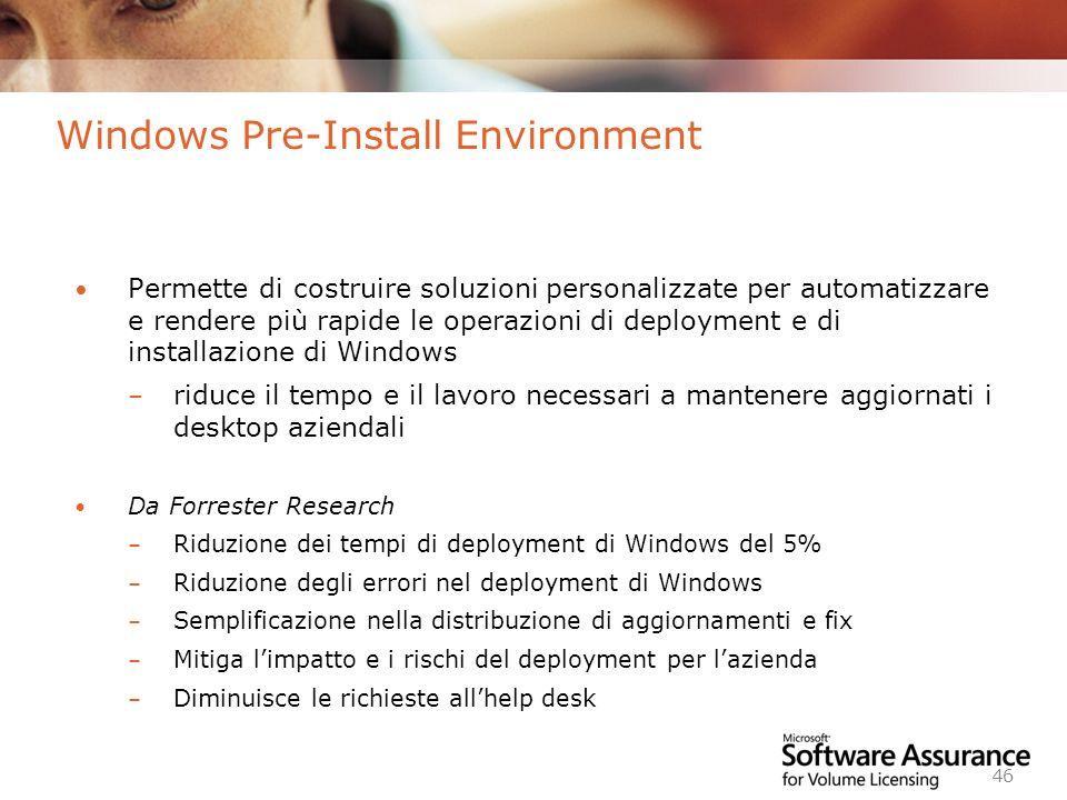 Worldwide Licensing and Pricing FY06 46 Windows Pre-Install Environment Permette di costruire soluzioni personalizzate per automatizzare e rendere più