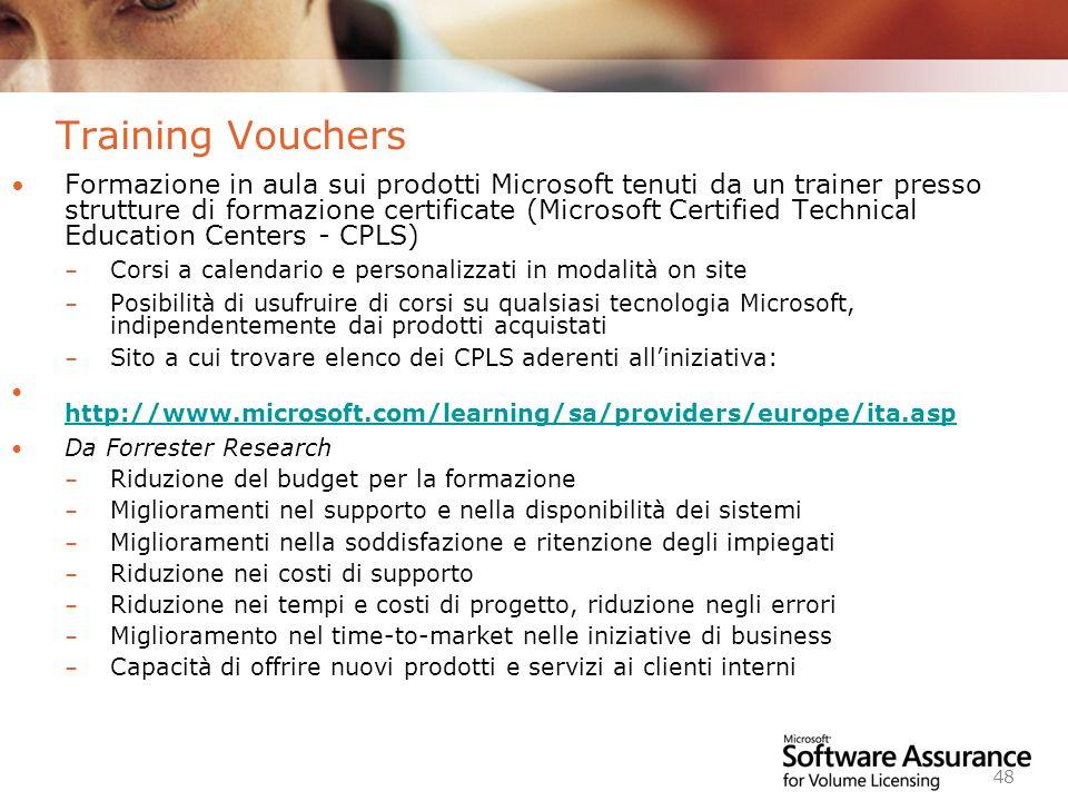 Worldwide Licensing and Pricing FY06 48 Training Vouchers Formazione in aula sui prodotti Microsoft tenuti da un trainer presso strutture di formazion
