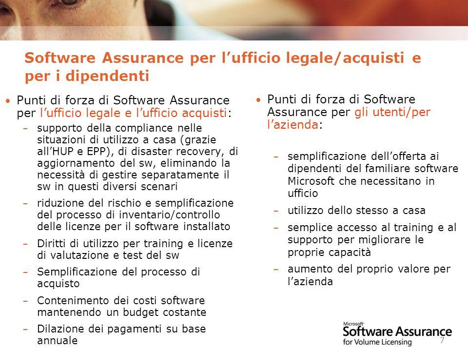 Worldwide Licensing and Pricing FY06 7 Software Assurance per lufficio legale/acquisti e per i dipendenti Punti di forza di Software Assurance per luf