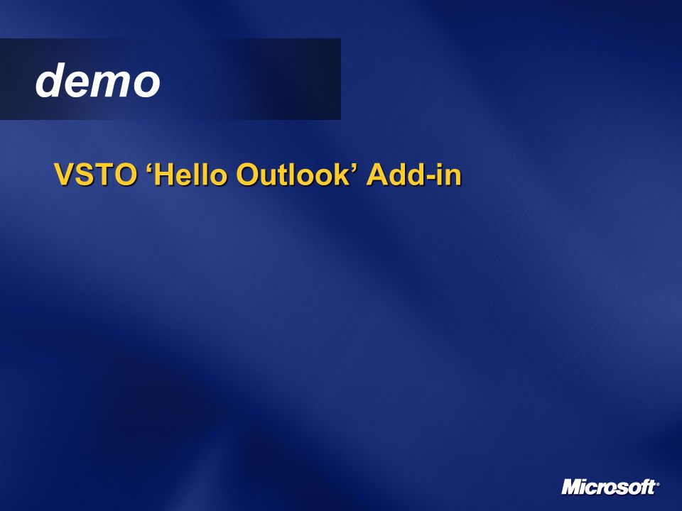 demo VSTO Hello Outlook Add-in