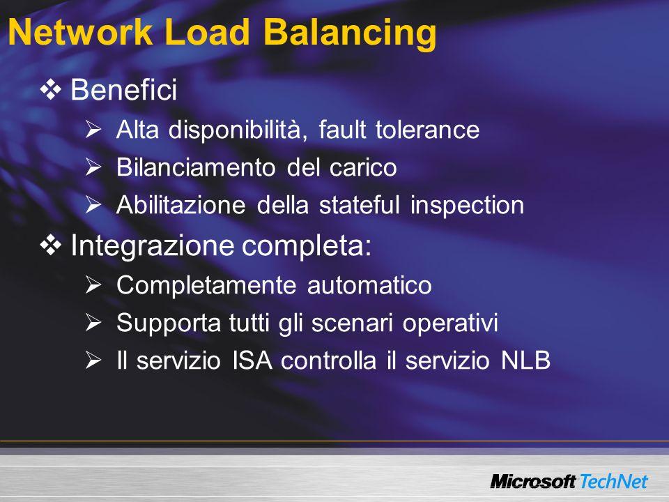 Network Load Balancing Benefici Alta disponibilità, fault tolerance Bilanciamento del carico Abilitazione della stateful inspection Integrazione completa: Completamente automatico Supporta tutti gli scenari operativi Il servizio ISA controlla il servizio NLB