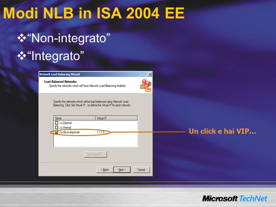 Modi NLB in ISA 2004 EE Non-integrato Integrato Un click e hai VIP…