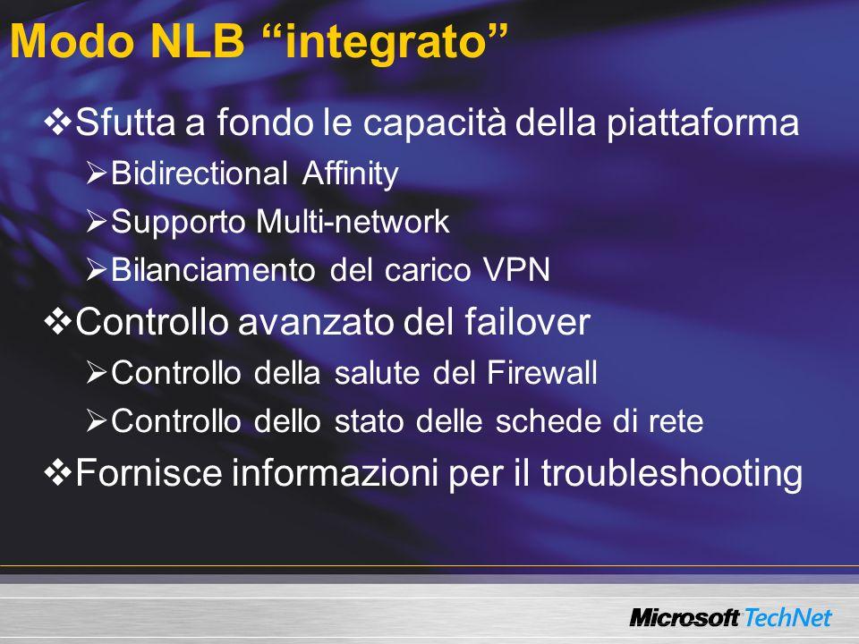 Modo NLB integrato Sfutta a fondo le capacità della piattaforma Bidirectional Affinity Supporto Multi-network Bilanciamento del carico VPN Controllo avanzato del failover Controllo della salute del Firewall Controllo dello stato delle schede di rete Fornisce informazioni per il troubleshooting