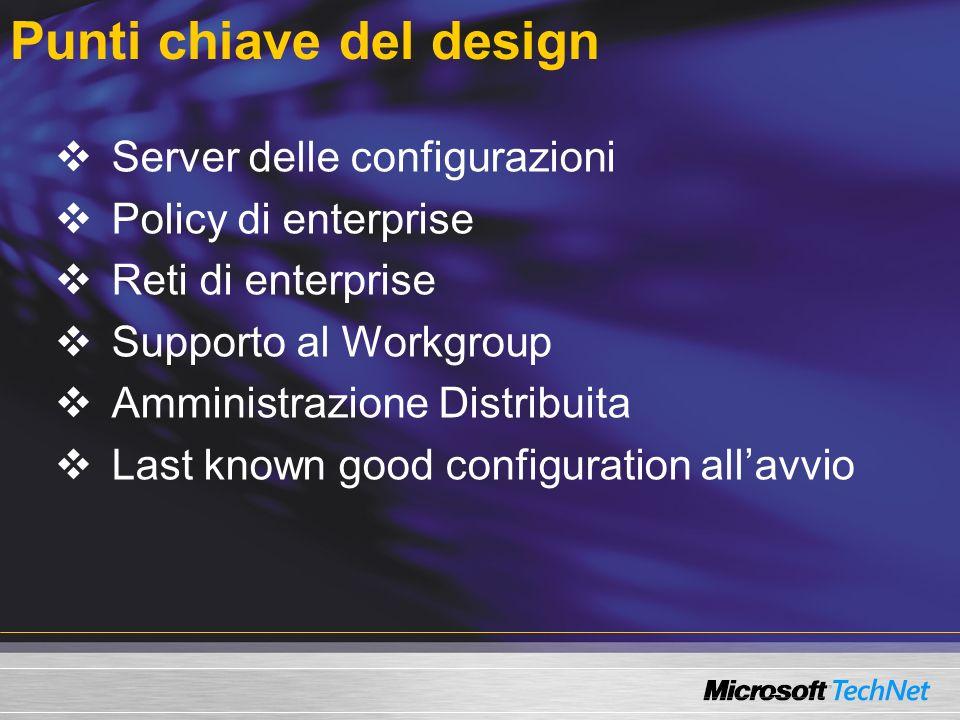 Punti chiave del design Server delle configurazioni Policy di enterprise Reti di enterprise Supporto al Workgroup Amministrazione Distribuita Last known good configuration allavvio